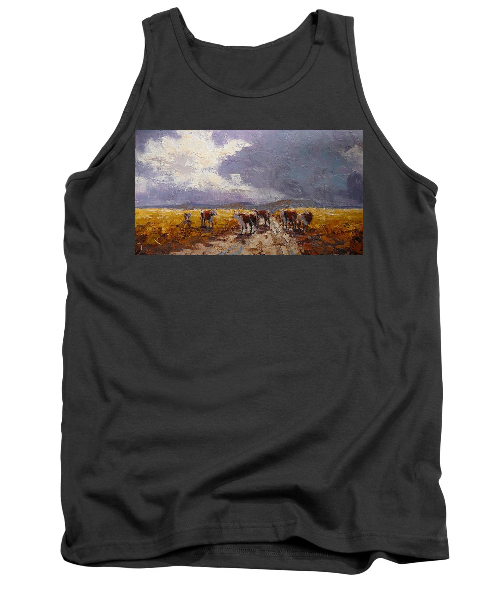 Landscape Tank Top featuring the painting African Cattel by Yvonne Ankerman