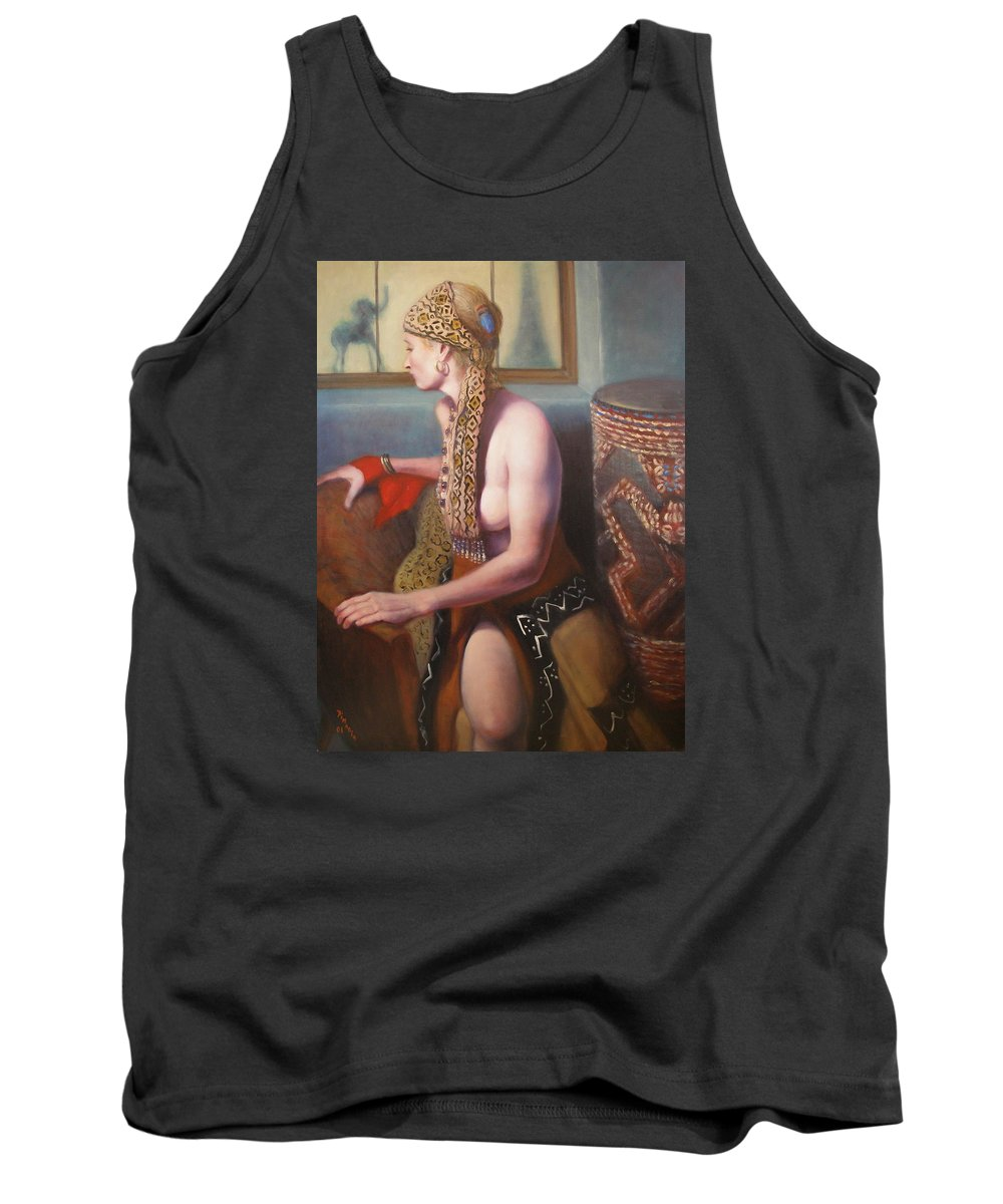 Realism Tank Top featuring the painting African Drum 1 by Donelli DiMaria