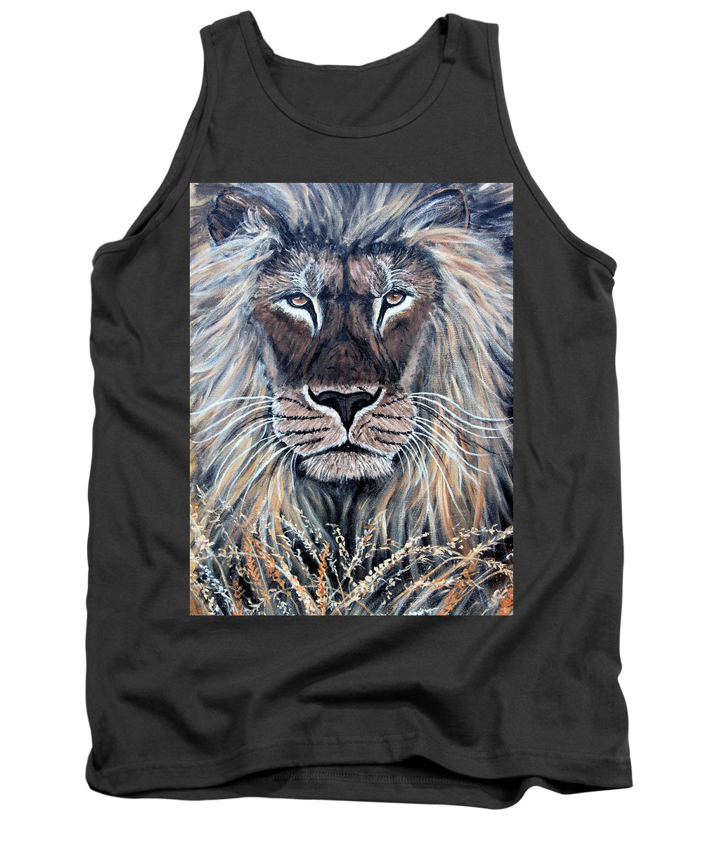 Lion Tank Top featuring the painting African Lion by Nick Gustafson
