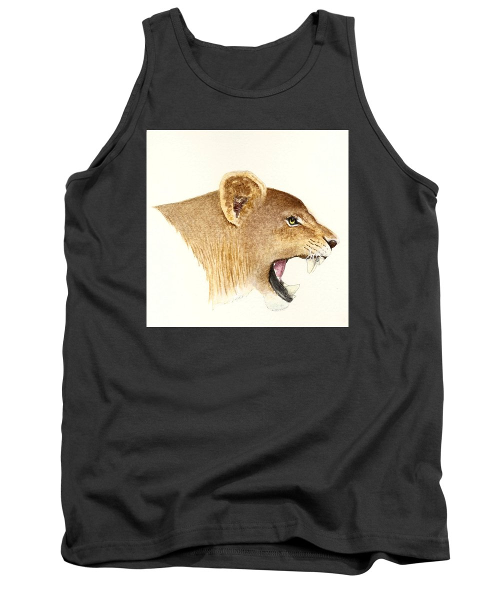 Animals Tank Top featuring the painting African Lioness by Michael Vigliotti
