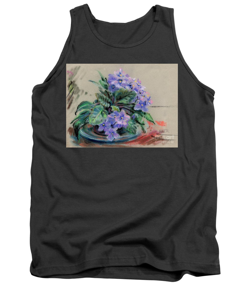 African Violets Tank Top featuring the drawing African Violet by Donald Maier
