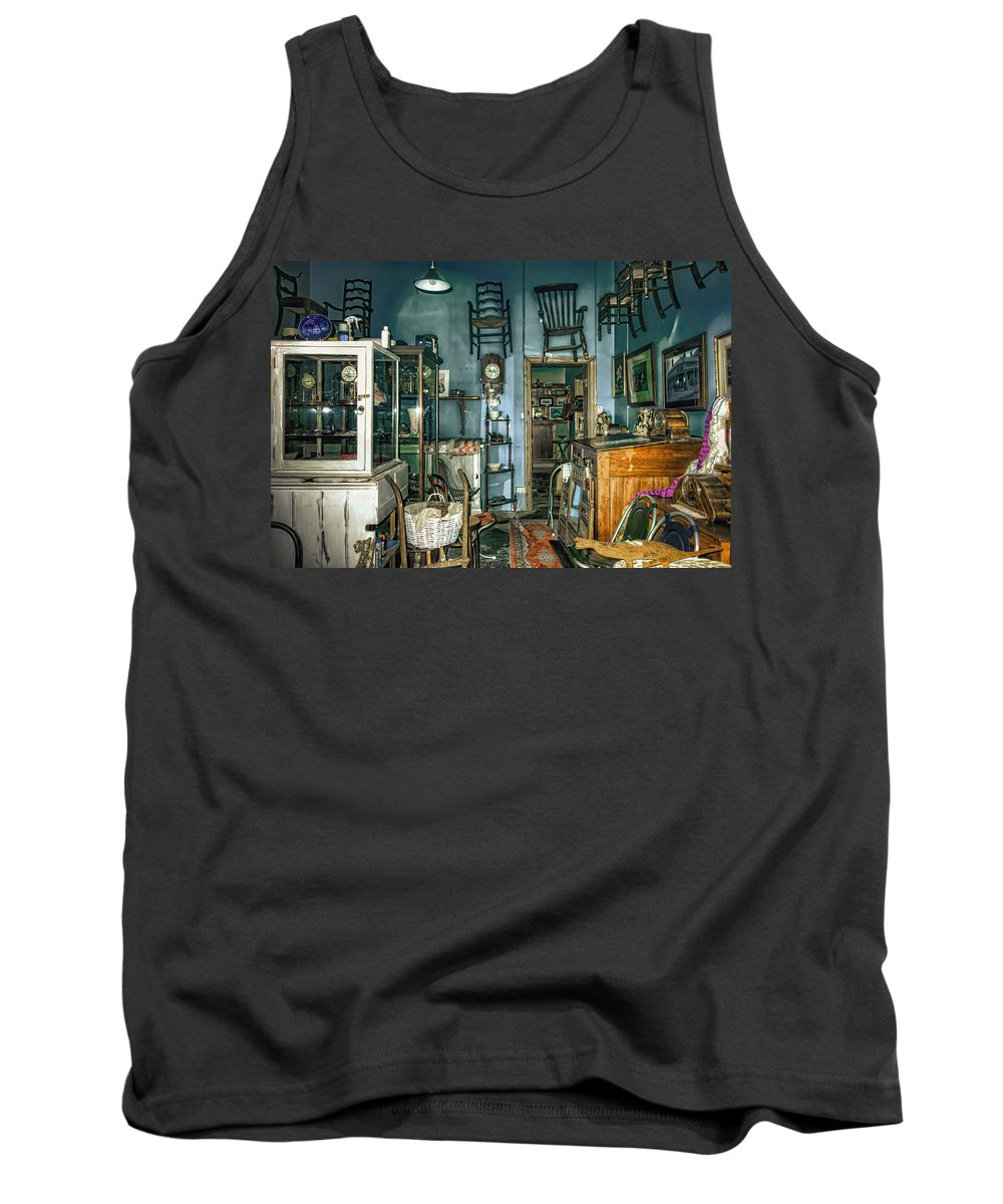 After Hours Antiques Tank Top featuring the photograph After Hours Antiques by Wayne Sherriff