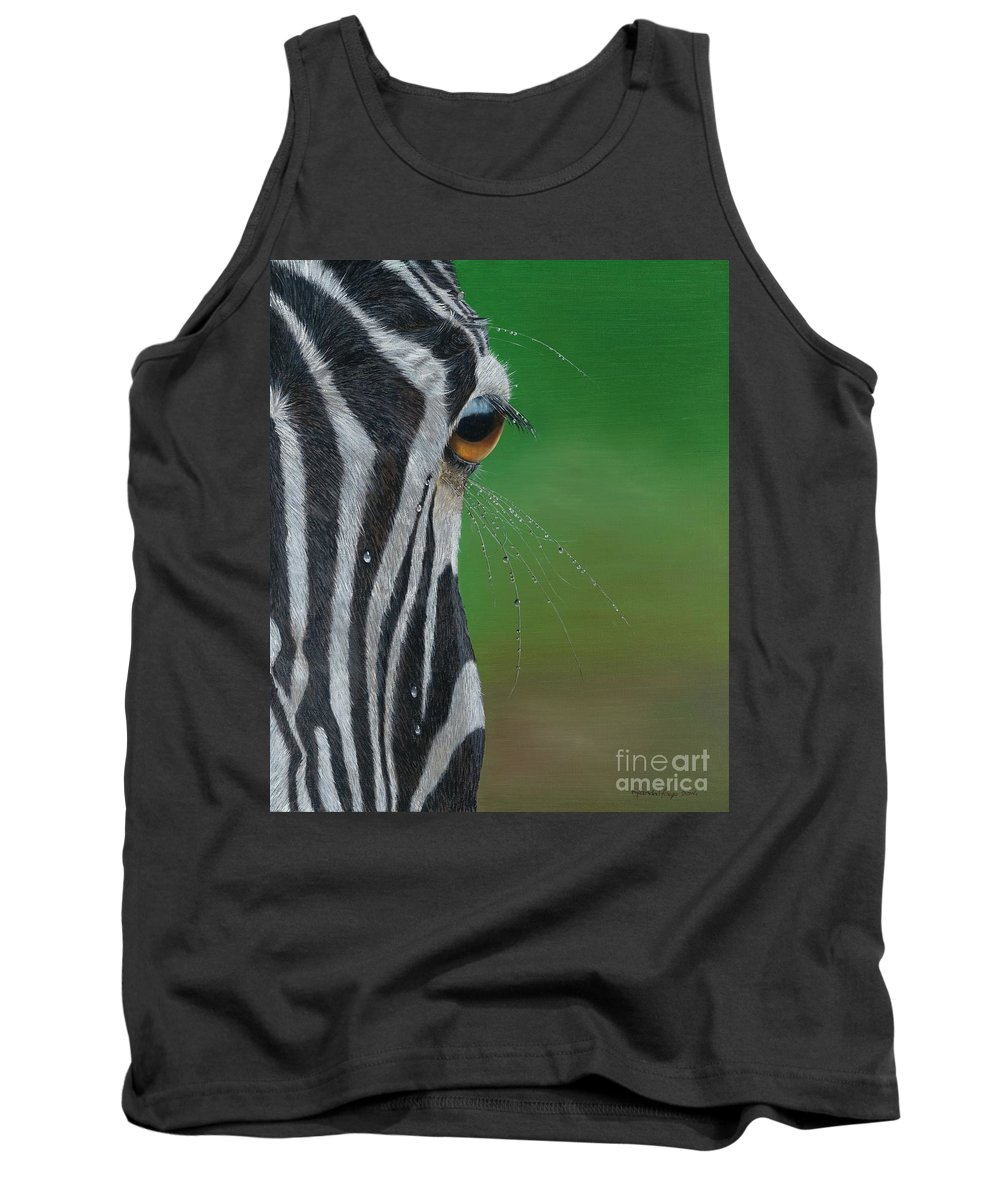 Zebra Tank Top featuring the painting After The Rain by Nanda Hoep