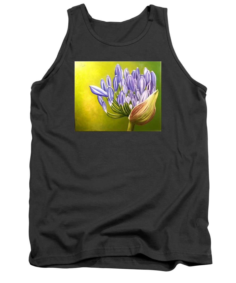 Flower Tank Top featuring the painting Agapanthos by Natalia Tejera