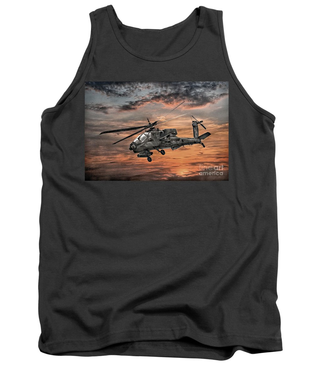 U.s. Army Tank Top featuring the digital art Ah-64 Apache Attack Helicopter by Randy Steele