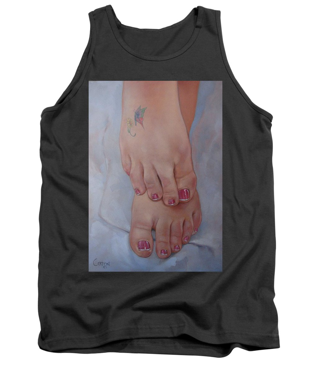 Pretty Feet Tank Top featuring the painting Aimee by Jerrold Carton
