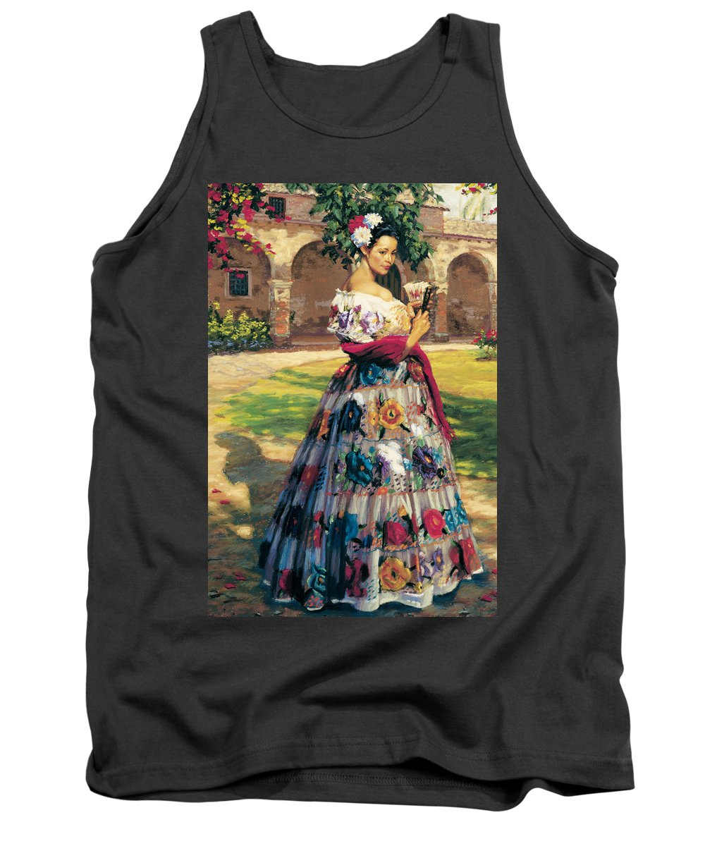 Woman Elaborately Embroidered Mexican Dress. Background Mission San Juan Capistrano. Tank Top featuring the painting Al Aire Libre by Jean Hildebrant