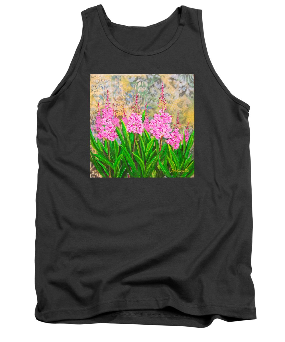 Fireweed Tank Top featuring the painting Alaskan Bouquet by Dee Carpenter