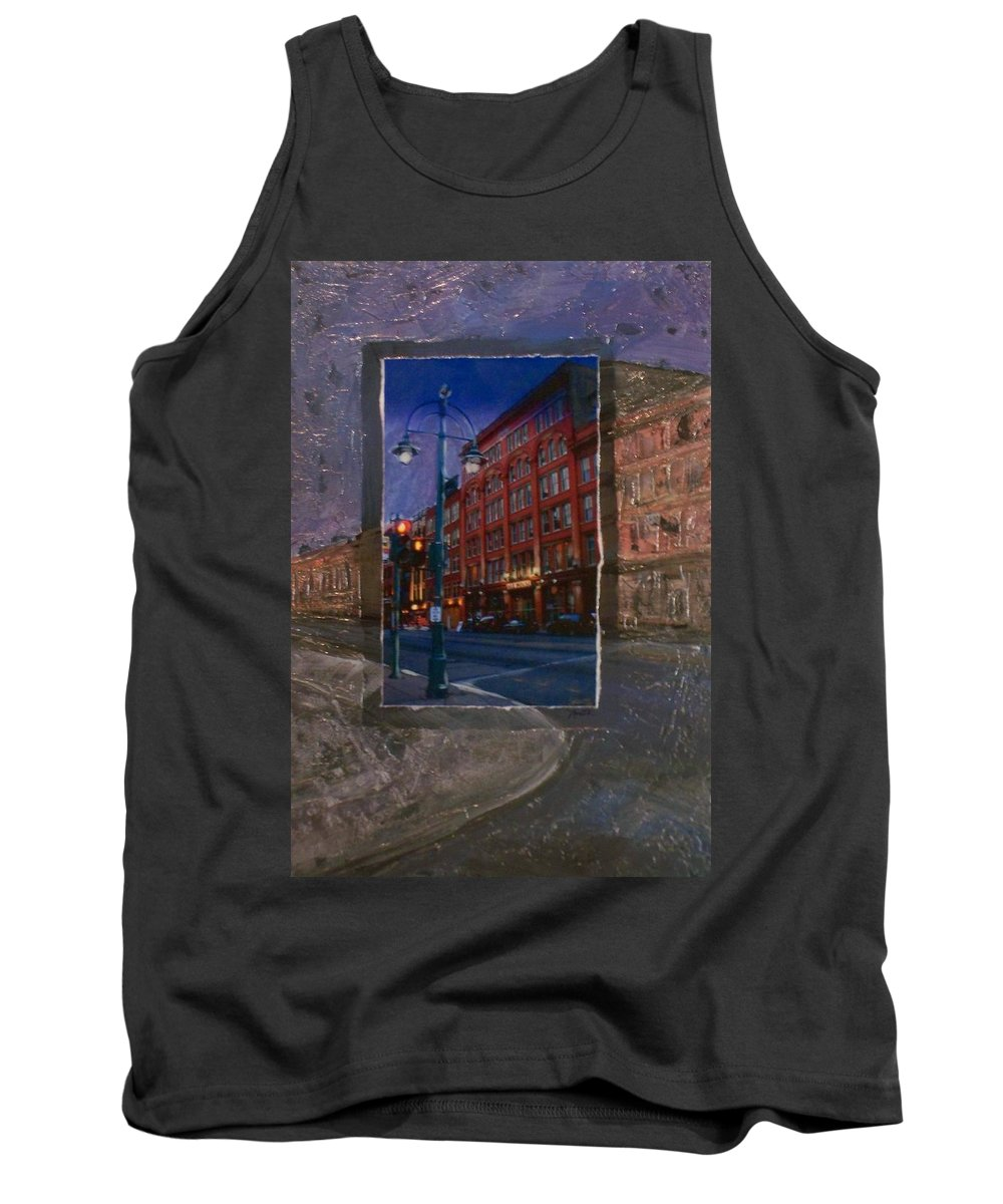 Ale House Tank Top featuring the mixed media Ale House And Street Lamp by Anita Burgermeister