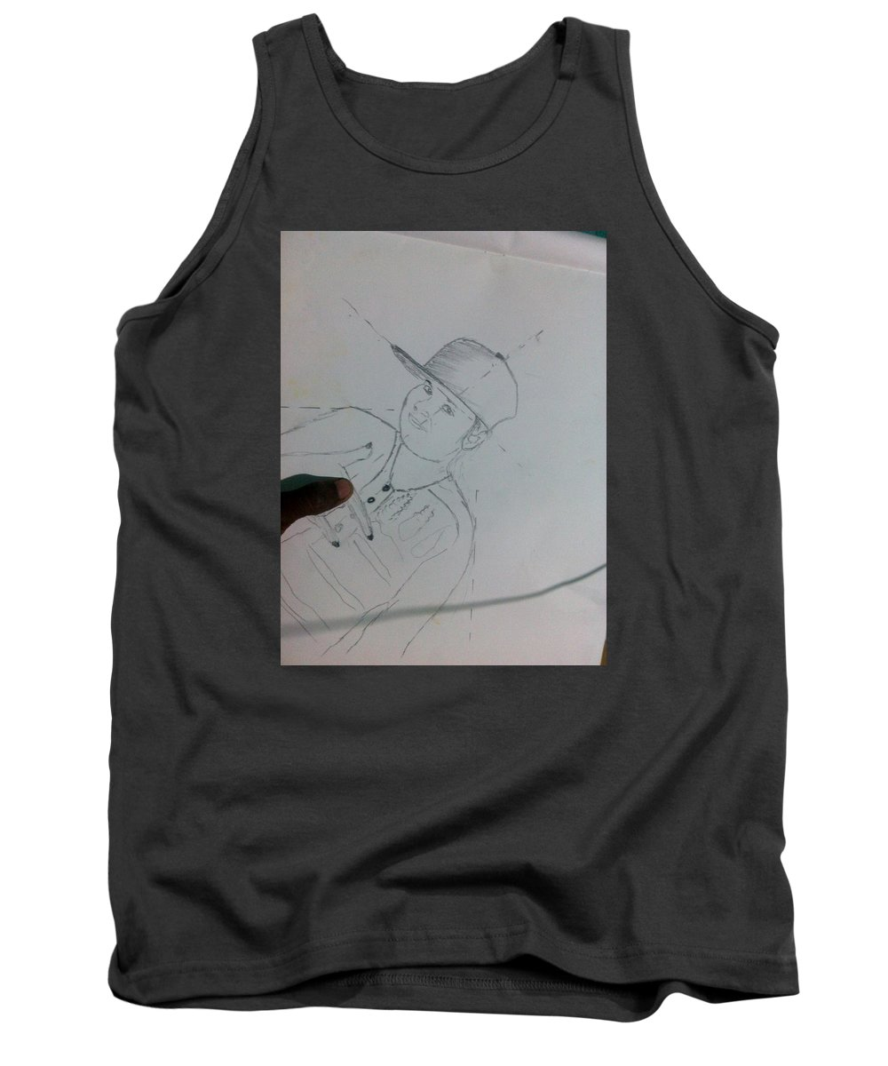 Tank Top featuring the drawing Alfred by Alfred Kelwins
