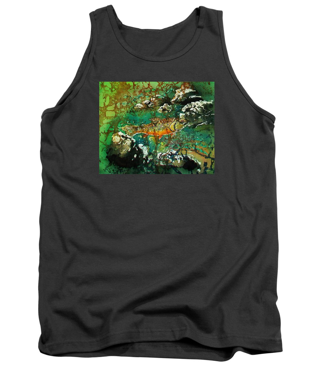 Trout Tank Top featuring the painting All About Trout by Sue Duda