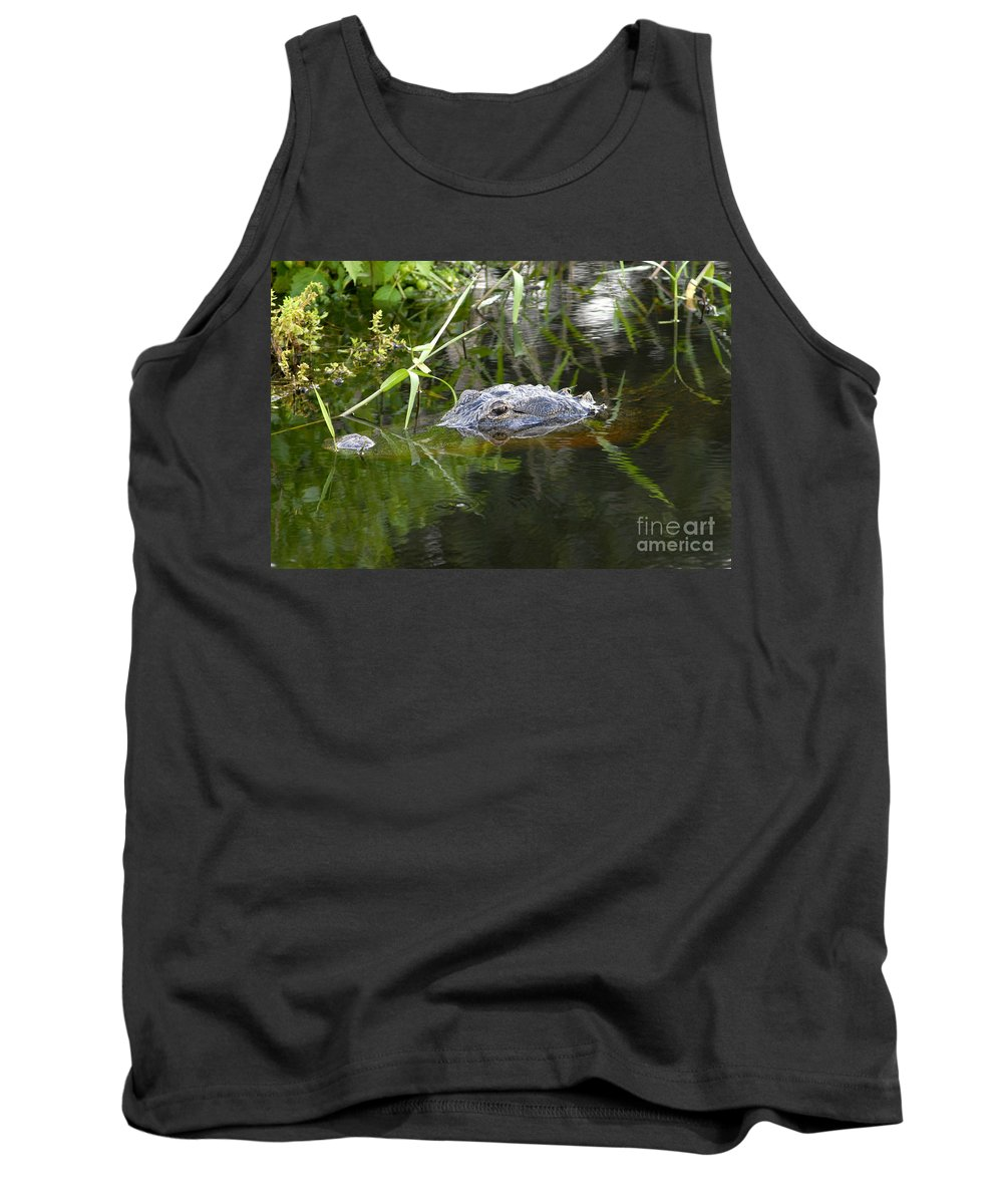 Alligator Tank Top featuring the photograph Alligator Hunting by David Lee Thompson