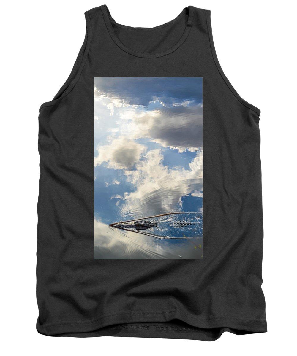 Alligator Tank Top featuring the photograph Alligator In Flight by Benjamin Andersen