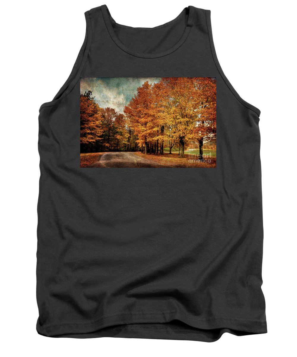 Country Road Tank Top featuring the photograph Almost Home by Lois Bryan