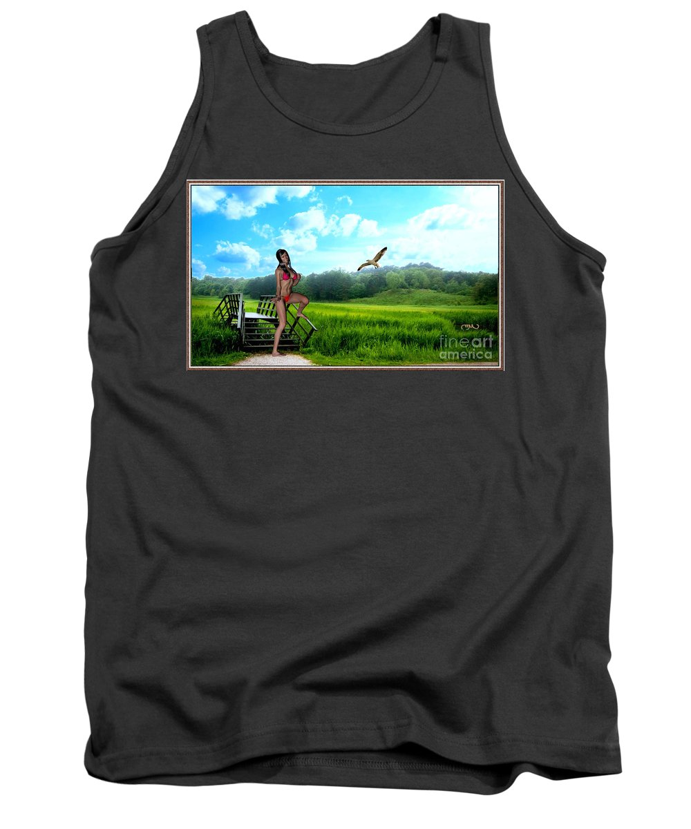 Modern Painting Tank Top featuring the mixed media Alone In The Field by Pemaro