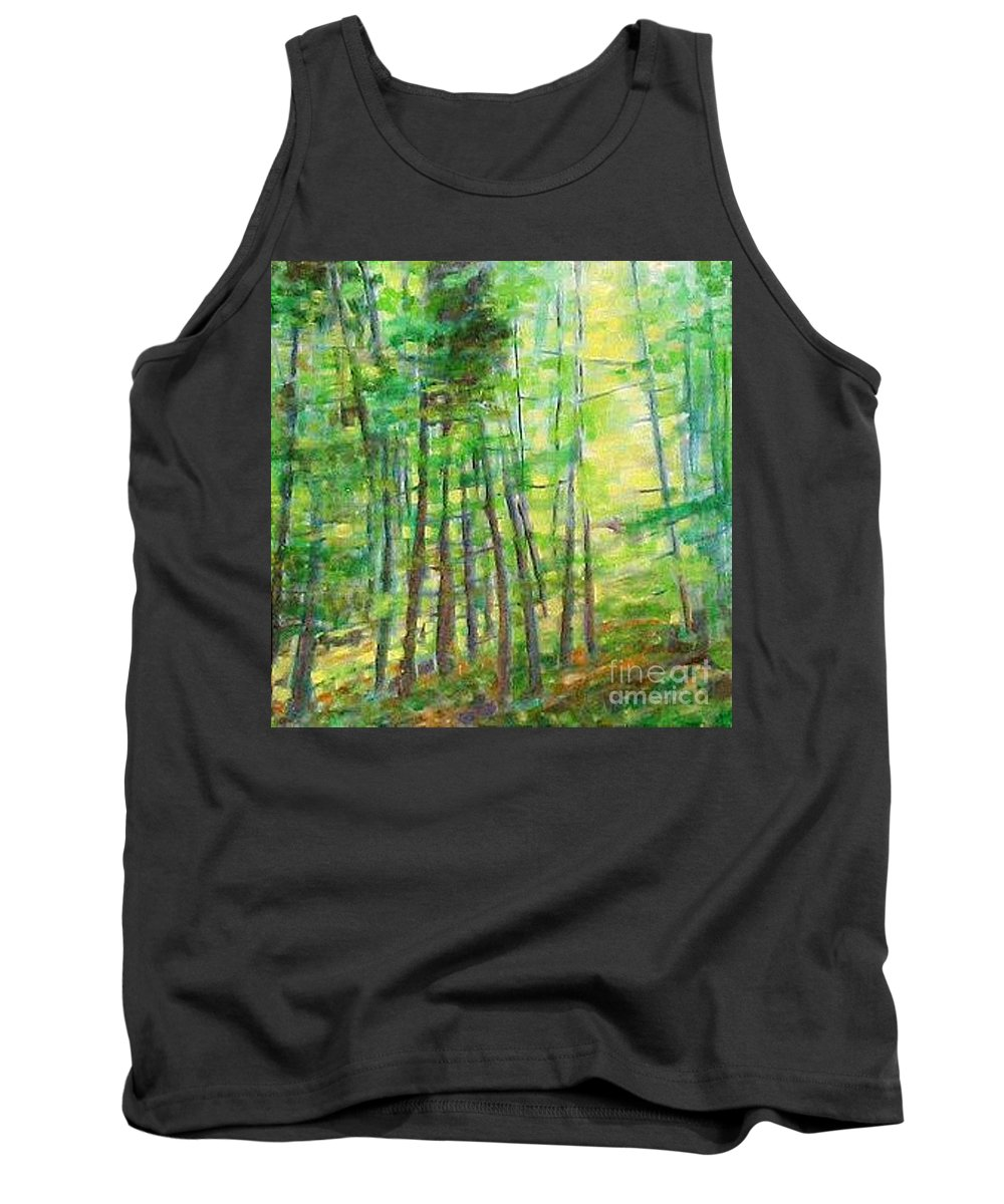 Landscape Tank Top featuring the painting Along Buckslide Road by Karen Sloan