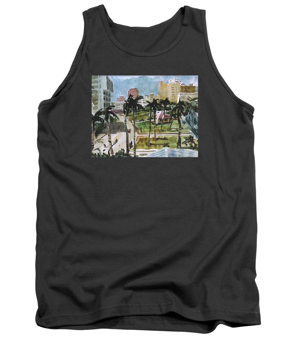 City Tank Top featuring the painting Along Flagler Drive by Thomas Tribby