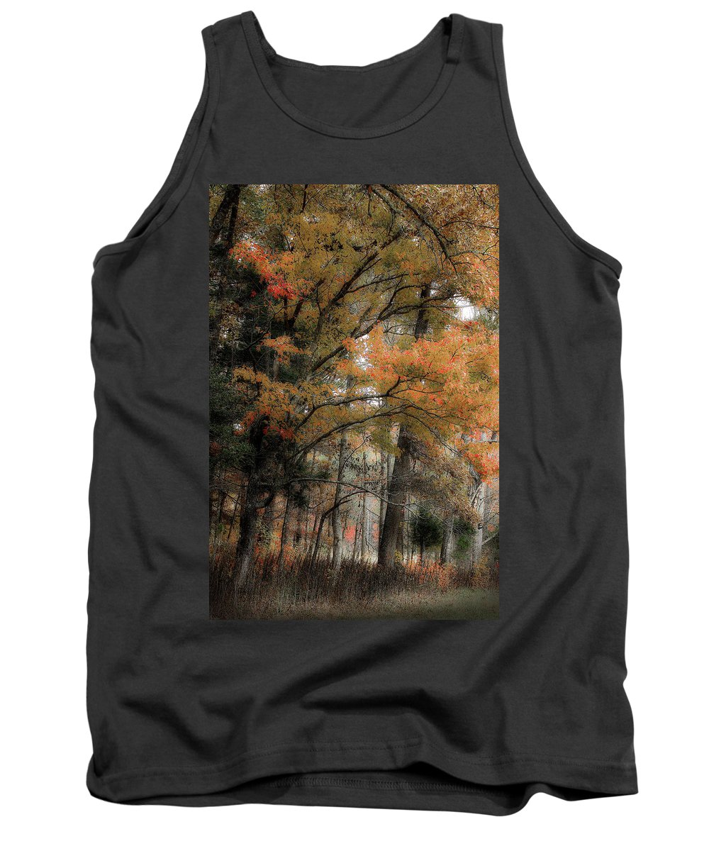 Fall Trees Tank Top featuring the photograph Along The Edge Of October by Michael Eingle
