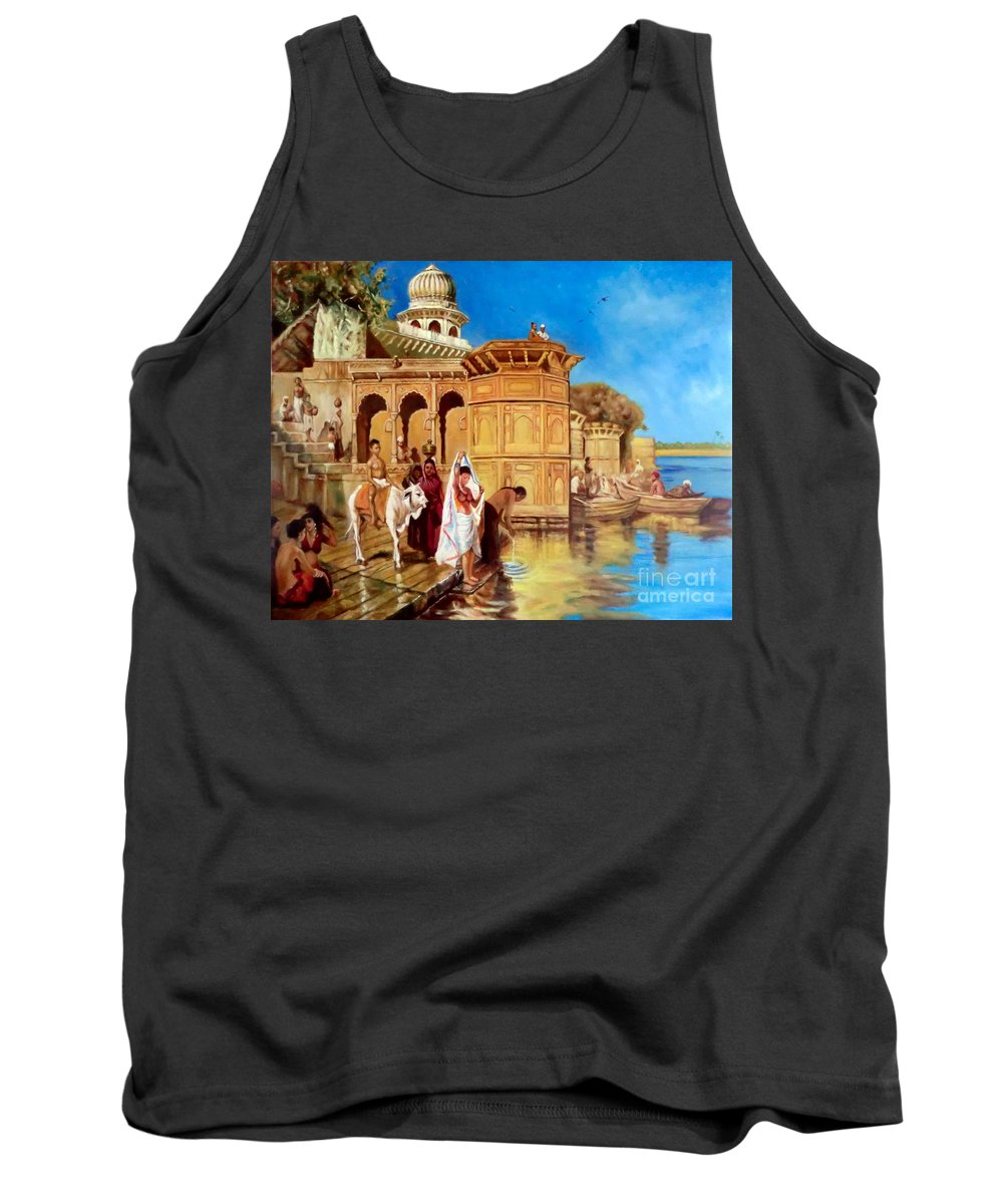 Oil Tank Top featuring the painting Along The Ghats, Mathura After Edwin Lord Weeks by Hidemi Tada