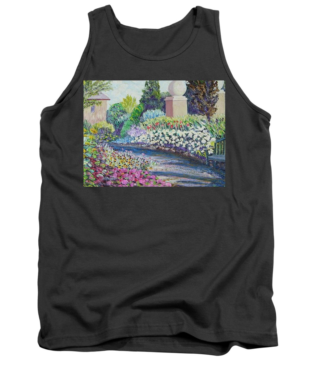 Flowers Tank Top featuring the painting Amelia Park Pathway by Richard Nowak