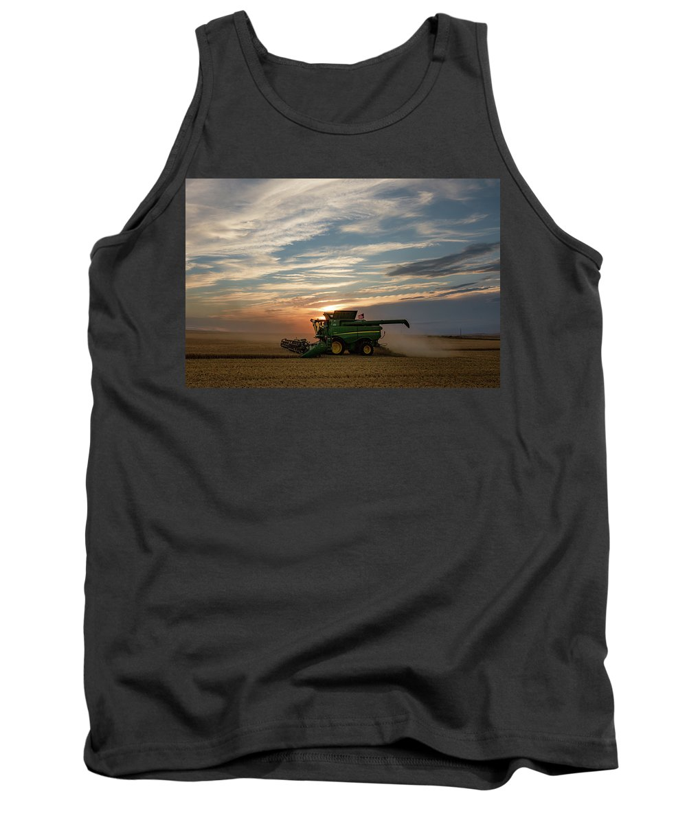 Combine Tank Top featuring the photograph American Combine by Todd Klassy