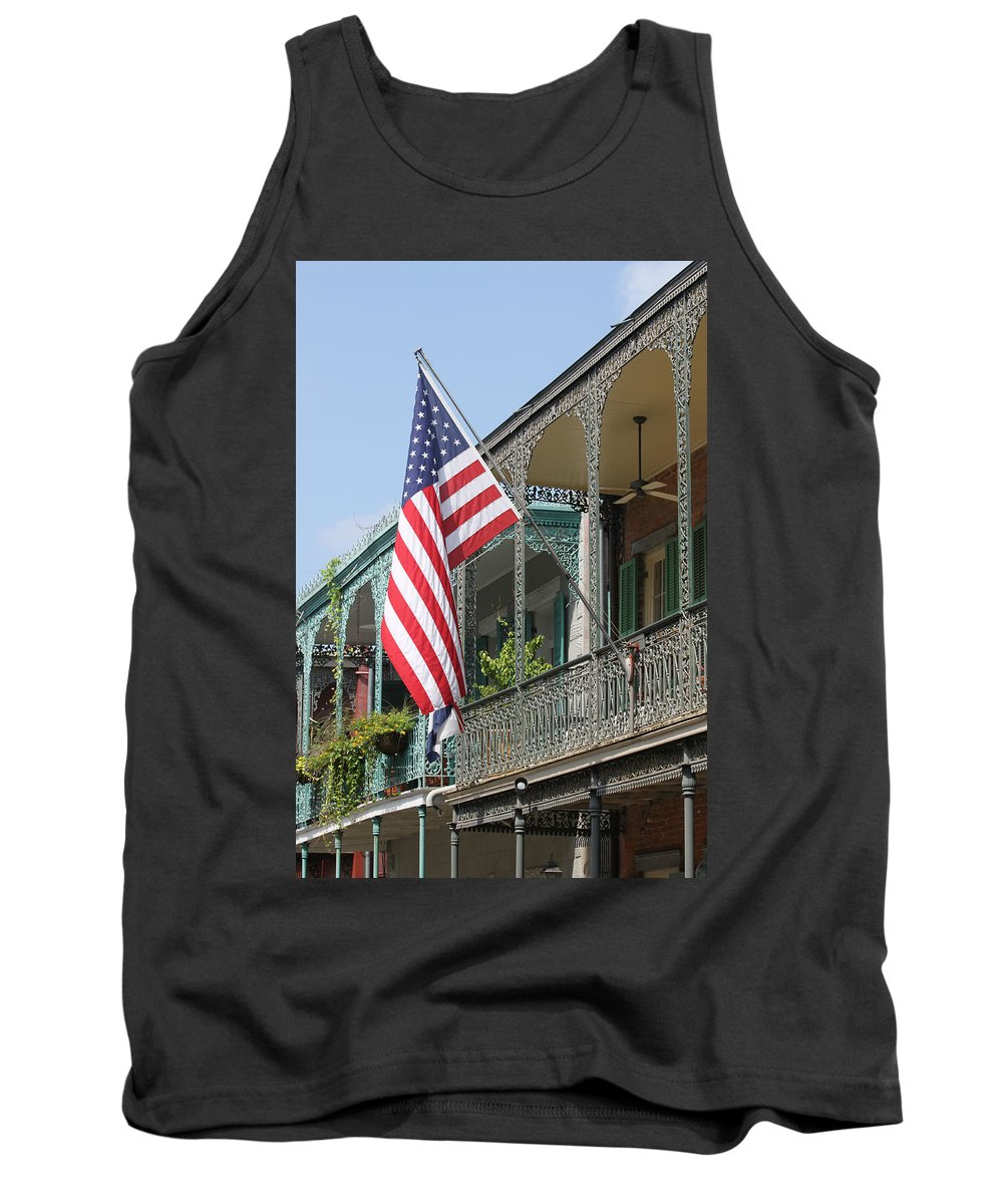 American Flag Tank Top featuring the photograph American French Quarter by Lauri Novak
