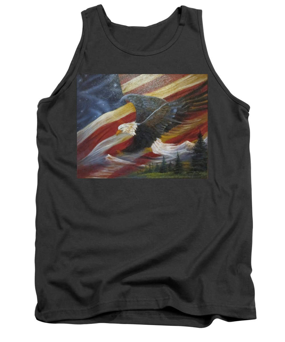 Curvismo Tank Top featuring the painting American Glory by Sherry Strong