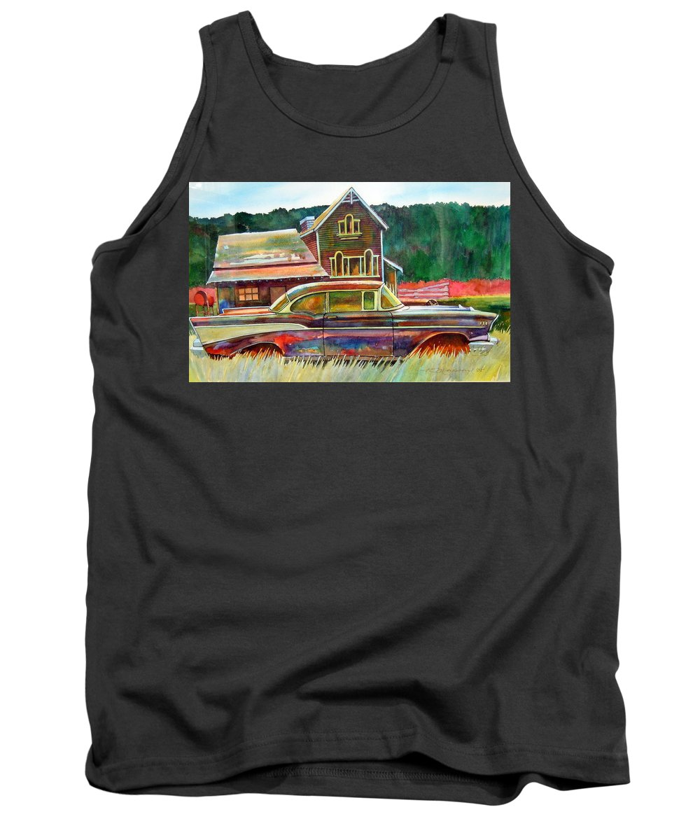 57 Chev Tank Top featuring the painting American Heritage by Ron Morrison