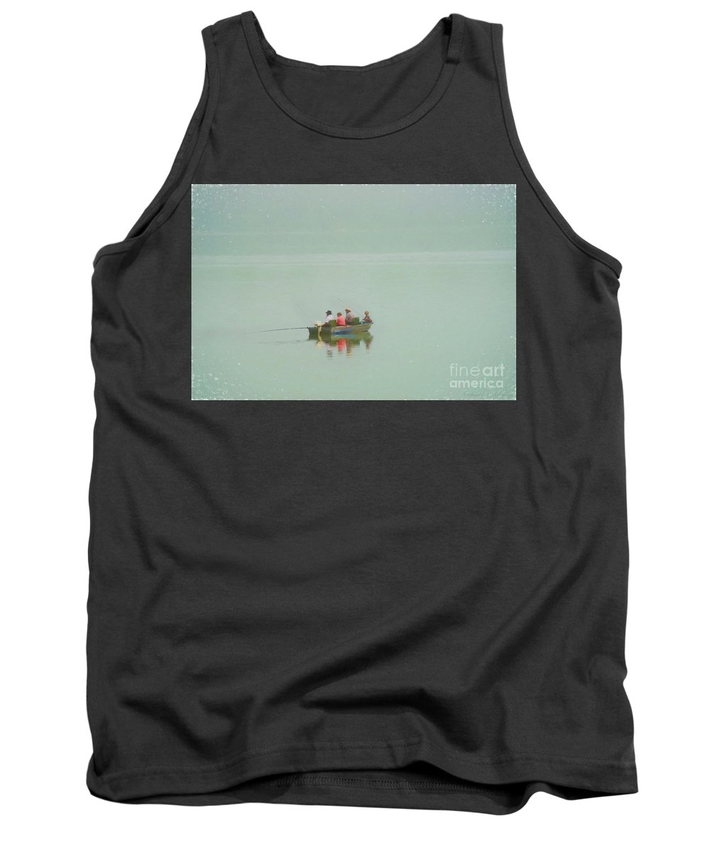 Fishermen Tank Top featuring the photograph Amish Fishermen by David Arment