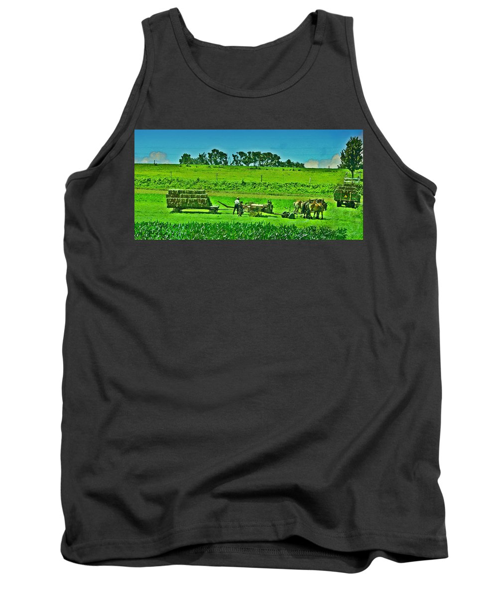 Lancaster County Tank Top featuring the photograph Amish Gathering Hay by Bill Cannon