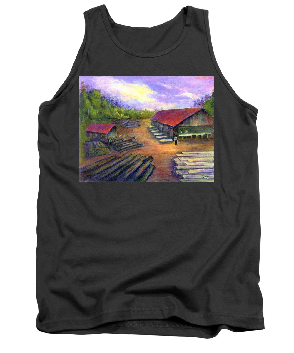 Amish Tank Top featuring the painting Amish Lumbermill by Gail Kirtz
