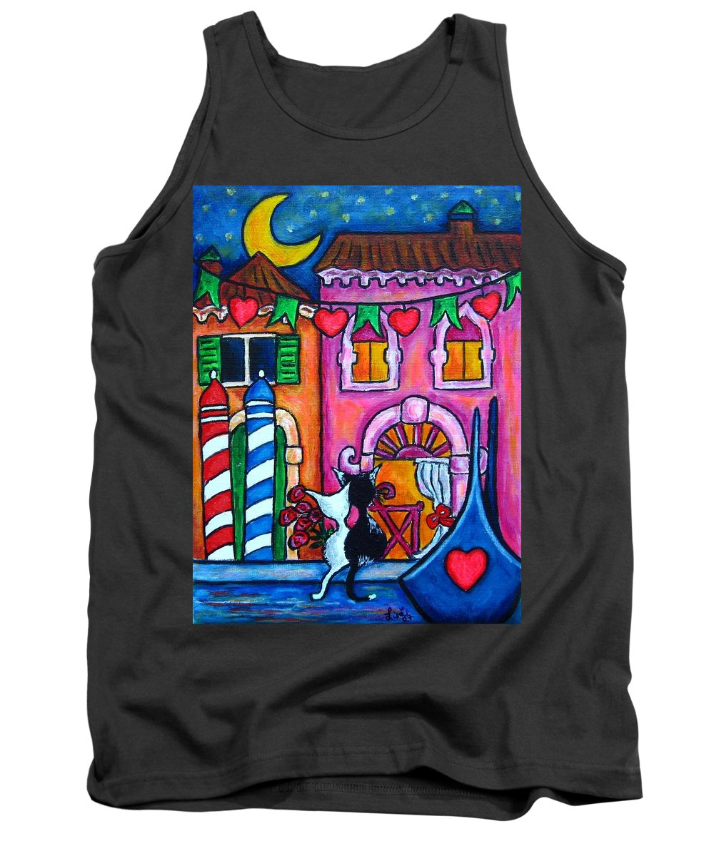 Cats Tank Top featuring the painting Amore In Venice by Lisa Lorenz