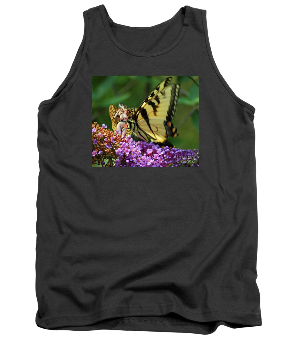 Nude Tank Top featuring the photograph Amorous Butterfly And Faerie by Broken Soldier