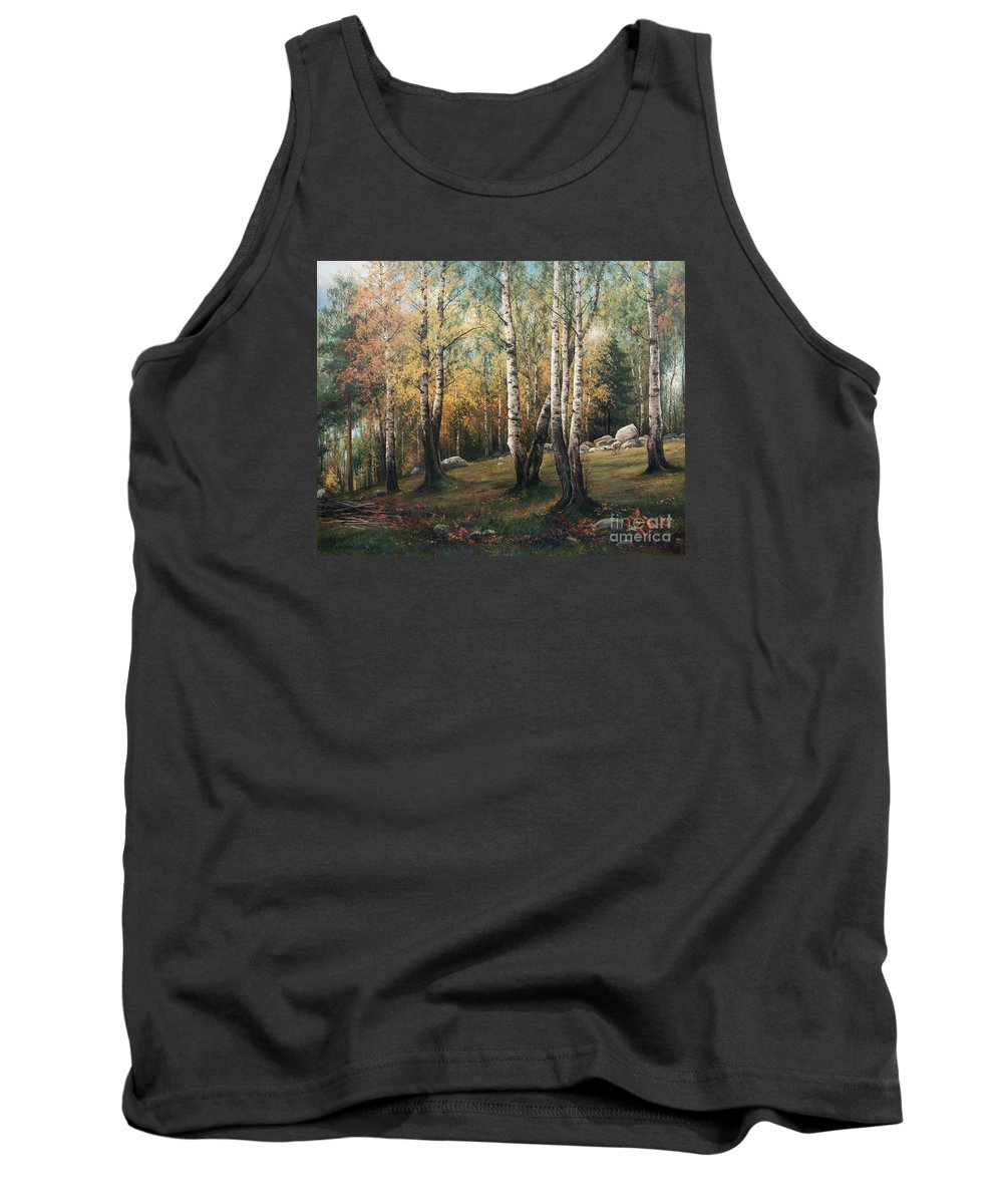 Thorsten Waenerberg Tank Top featuring the painting An Autumn Landscape by Celestial Images