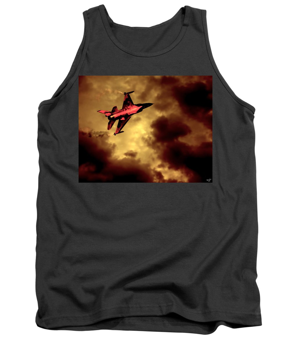 F-16 Tank Top featuring the photograph An F-16 Flies Through Hell by Chris Lord