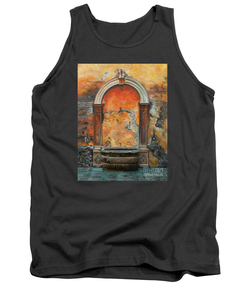 Fountain Painting Tank Top featuring the painting Ancient Italian Fountain by Charlotte Blanchard