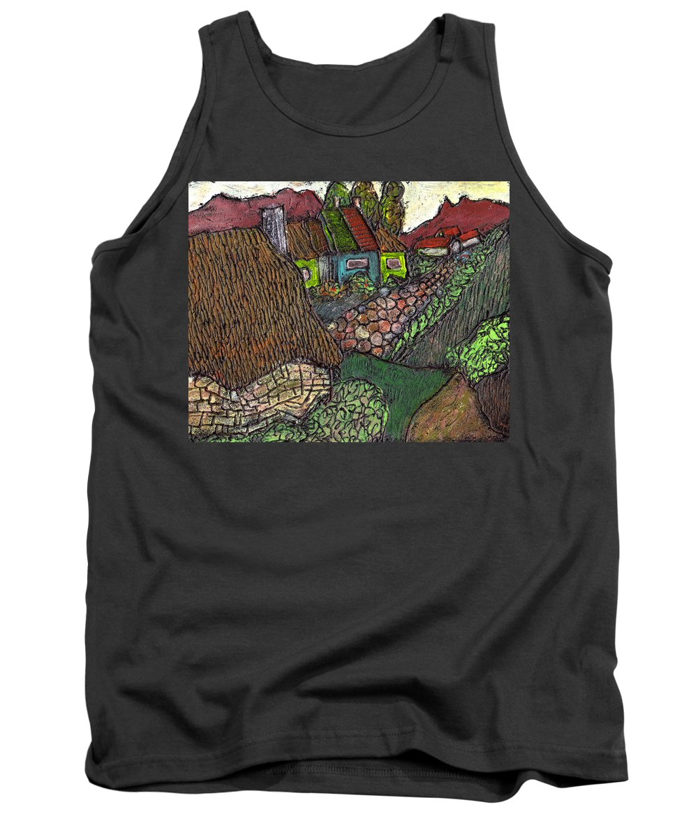 Ancient Village Tank Top featuring the painting Ancient Village by Wayne Potrafka