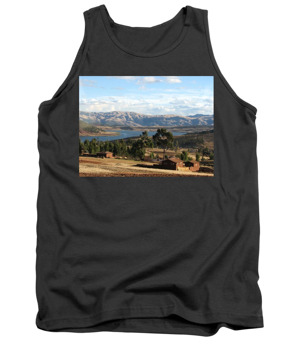 Landscape Tank Top featuring the photograph Andes Lake by Sandra Bourret