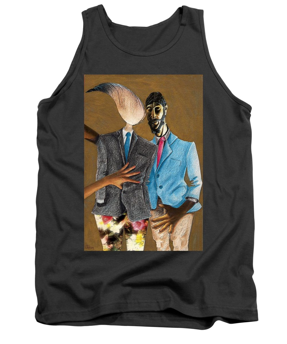 Sex Gay Androginality Couple Love Relation Tank Top featuring the mixed media Androginality by Veronica Jackson