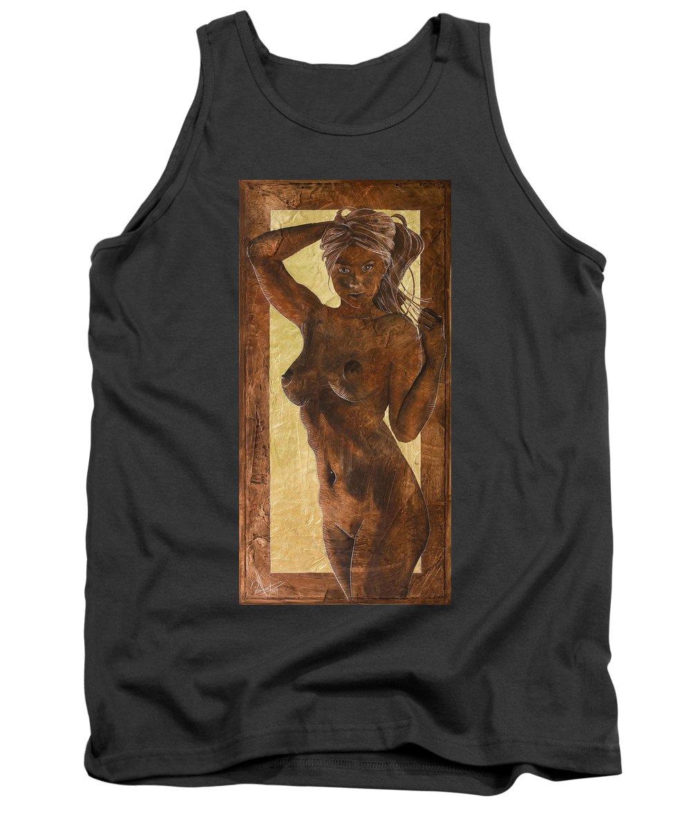 Nude Tank Top featuring the painting Angel In Gold by Richard Hoedl