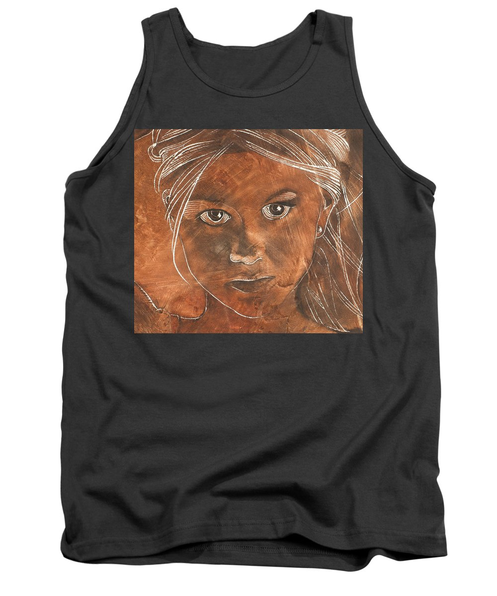 Nude Tank Top featuring the painting Angel In Process Head Detail by Richard Hoedl