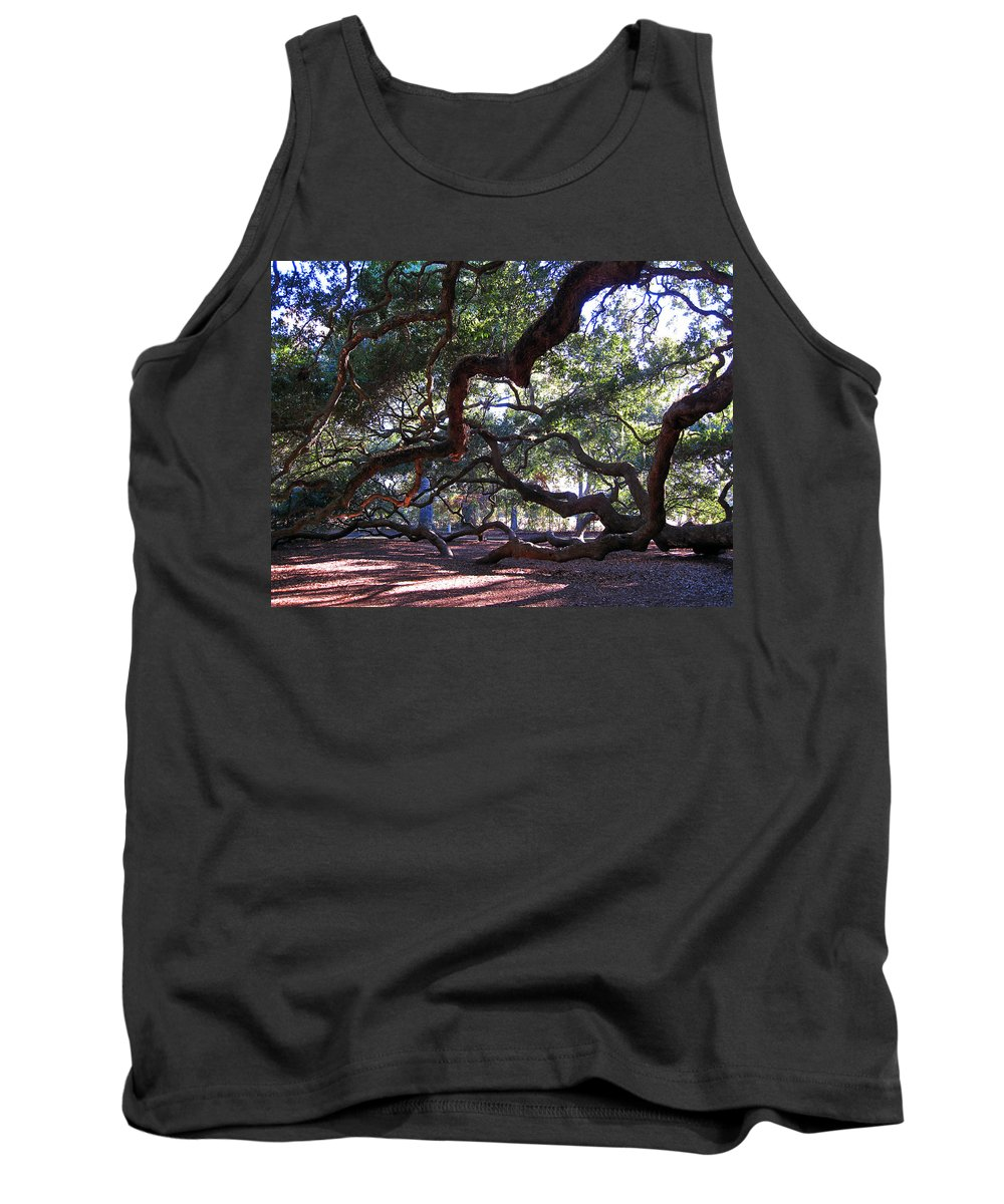 Photography Tank Top featuring the photograph Angel Oak Side View by Susanne Van Hulst