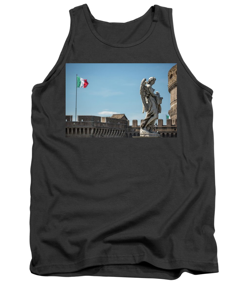 Rome Sculpture Statue Pont St�angelo Europe European Italy Italia Rome Roma Roman Art History Historic Beautiful Style Romantic Romance Summer In Italy Landmark Monument Bridge Capital Tiber Italian Flag Castel St'angelo Tank Top featuring the photograph Angel With The Garment And Dice by Michael Evans
