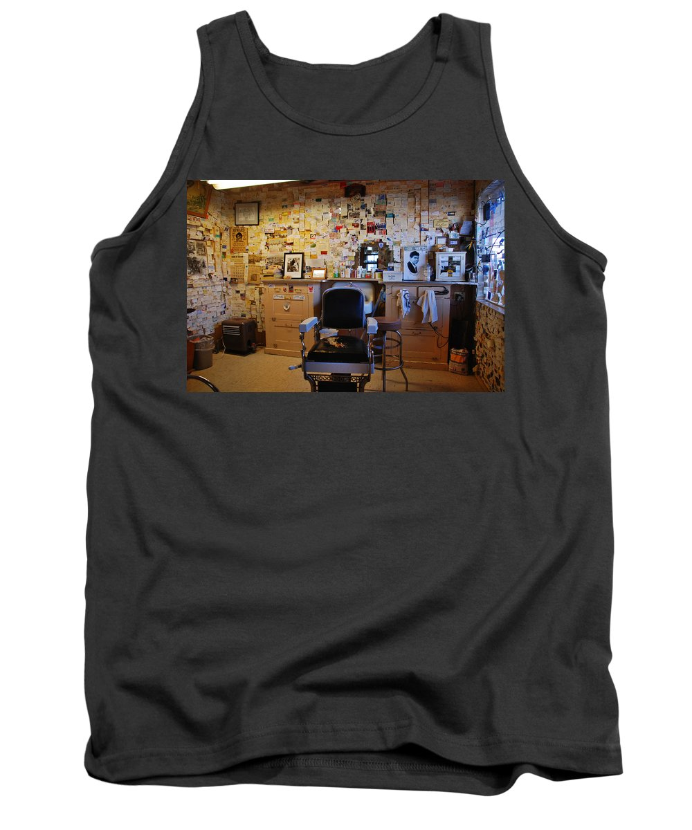 Barber Shop Tank Top featuring the photograph Angel's Barber Shop On Route 66 by Susanne Van Hulst
