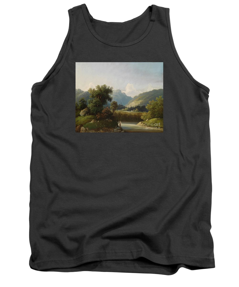 Theodor Freiherr Von Ehrmanns Tank Top featuring the painting Angler By A Stream by Celestial Images