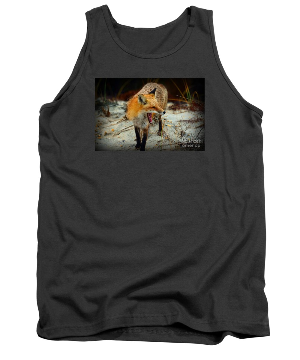 Paul Ward Tank Top featuring the photograph Animal - The Yawning Fox by Paul Ward