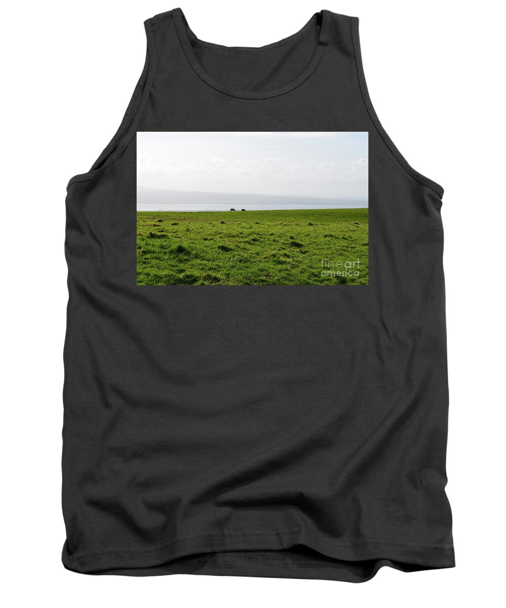 Hills Tank Top featuring the photograph Animals Grazing In A Field Along The Cliffs Of Moher by DejaVu Designs