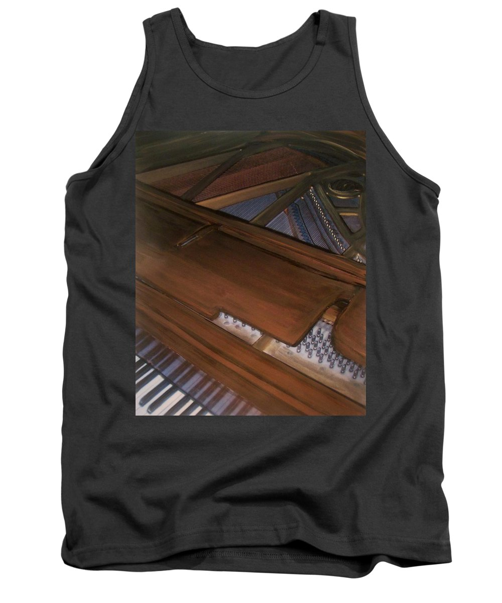 Piano Tank Top featuring the mixed media Anita's Piano 2 by Anita Burgermeister
