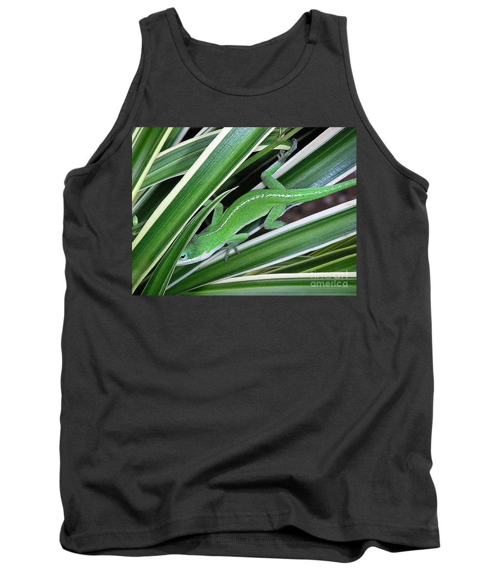 Nature Tank Top featuring the photograph Anole Hiding In Spider Plant by Lucyna A M Green