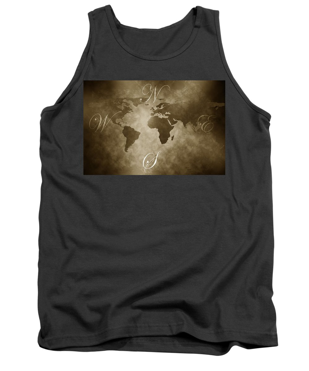 Compass Tank Top featuring the digital art Antique World Map by Phill Petrovic